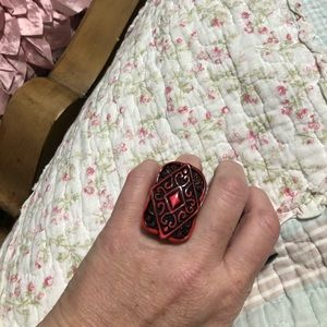 Bulky hot pink and brown ring